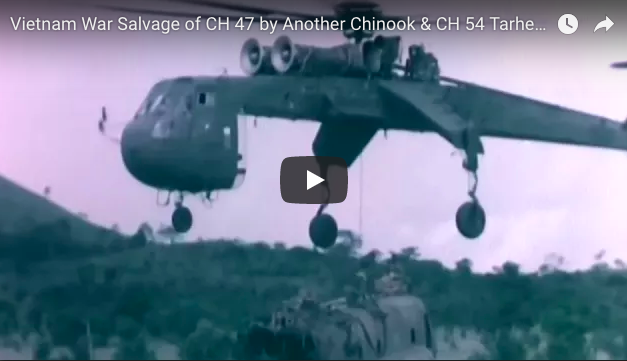 Salvage of CH 47 by Another Chinook & CH 54 Tarhe Flying Crane